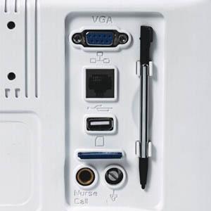 Стилус для рукописного ввода, гнезда для SD-карты памяти, сетевой порт, разъёмы USB и VGA